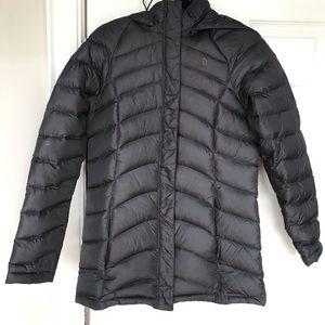 NORTH FACE women's dark grey puffer jacket parka
